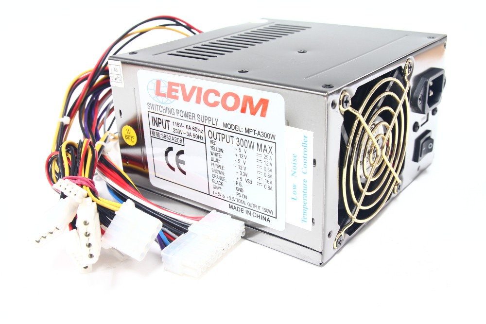 Levicom MPT-A300W 300Watt ATX Computer Switching Power Supply Low Noise 80mm Fan 4060787056191
