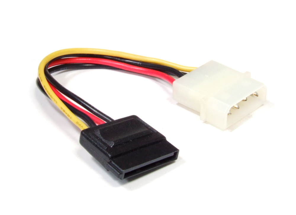 4-Pin Molex to 15-Pin Serial ATA SATA Connector Power Cable Adapter Strom-Kabel
