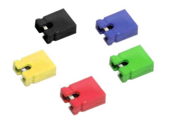 10x Jumper Shunts Bridges Set 2-Pin PC Connectors / Kurzschluss-Stecker Brücken
