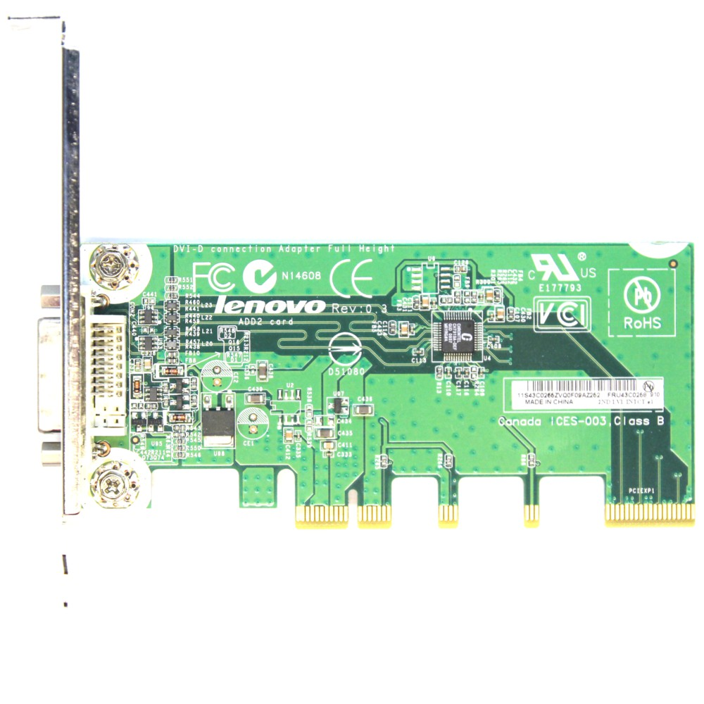 IBM Lenovo DVI-D PCI-E Video Connection Graphic Adapter Card ADD2 FRU 43C0258 4060787027948
