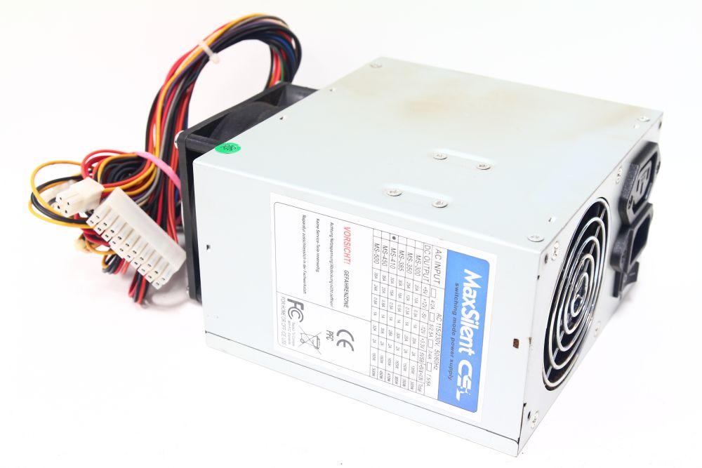 MaxSilent CSL MS-410 Switching Power Supply 410W ATX Netzteil 80mm Dual Fan SATA 4060787094179