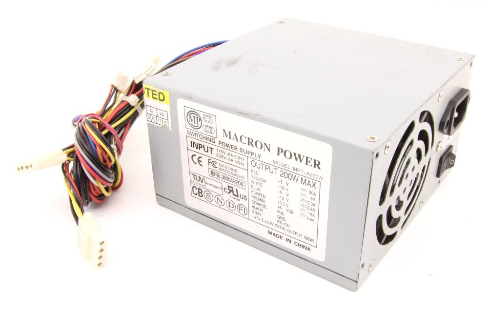 Macron Power MPT-A200W 200W ATX Desktop PC Power Supply Unit Computer Netzteil 4060787276322