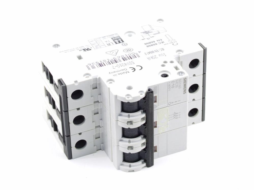 Siemens 5SY4310-7 Leitungs-Schutzschalter 3-polig 10 Ampere 400V 5SY43 MCB C10 4001869181936