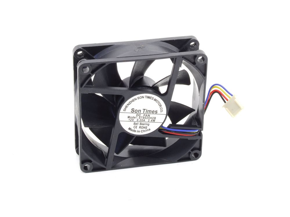 Son Times ST8025H2B 80x80x25mm Ball Bearing Fan Lüfter DC 12V 0.20A 2.4W 4-Pin 4060787289001
