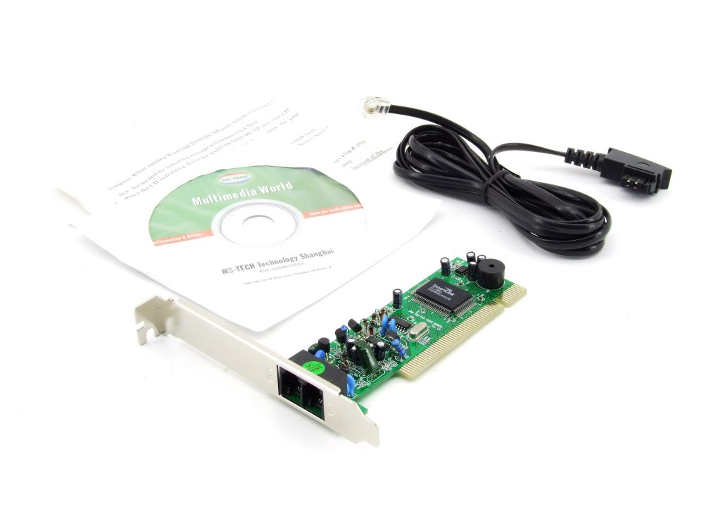 MS-Tech 56k V92 Fax Voice Modem Karte Card PCI Intern RJ11 V.92 SmartLink SL1800 4060787289384