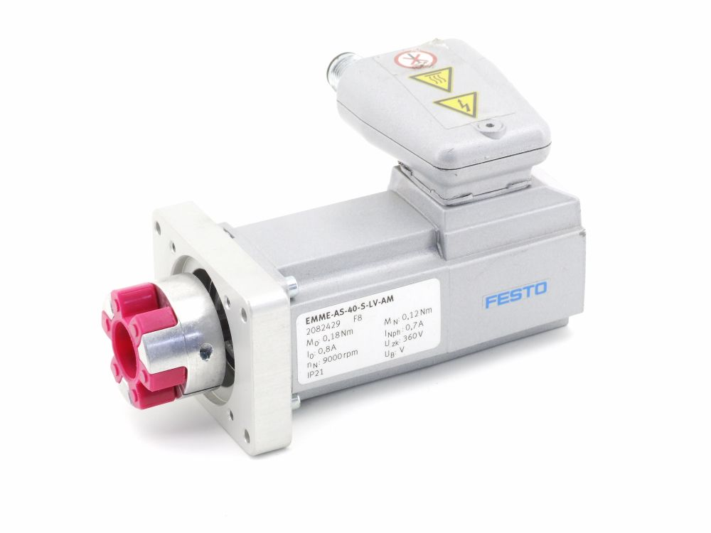 Festo EMME-AS-40-S-LV-AM Servo Motor 110W 360V 9000rpm Flange Size 40 2082429 F8 4060787298294